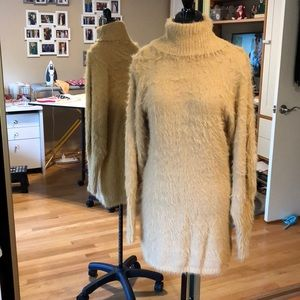 NEW Free People Furry Sweater Dress Honey S Small